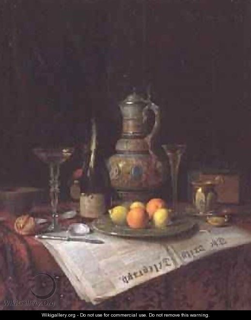 Still Life with a bottle of Champagne 1882 - Josef Mansfeld