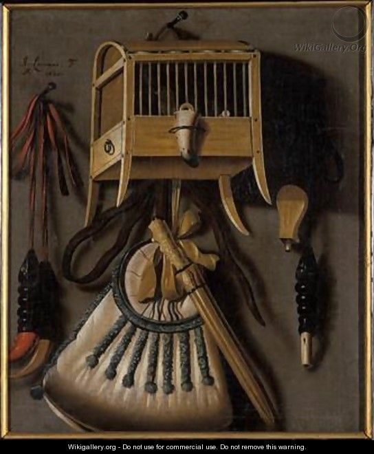 Still life with bird trapping equipment - Johannes Leemans