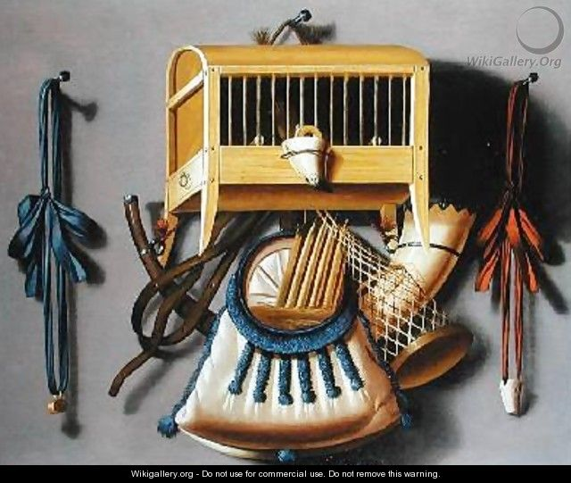Birdcage and Hunting Paraphernalia - Johannes Leemans