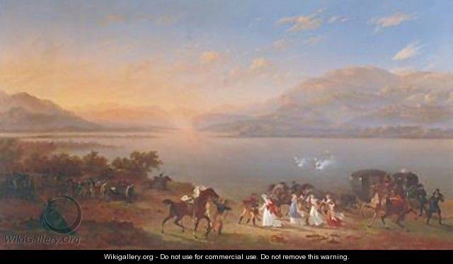 Empress Josephine 1763-1814 arriving to visit Napoleon 1769-1821 in Italy on the banks of Lake Garda - Hippolyte Lecomte
