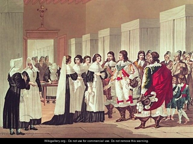 Meeting between Louis XIII 1601-43 and Marie-Louise Motier de la Fayette 1615-65 at lHotel-Dieu Paris - Hippolyte Lecomte