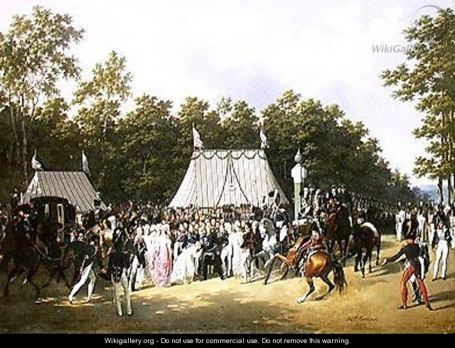 Louis XVIII 1755-1824 Greeting Marie-Caroline-Ferdinande de Bourbon Princess of Sicily at the Croix de Saint-Herem in the Forest at Fontainebleau 15th June 1816 - Hippolyte Lecomte