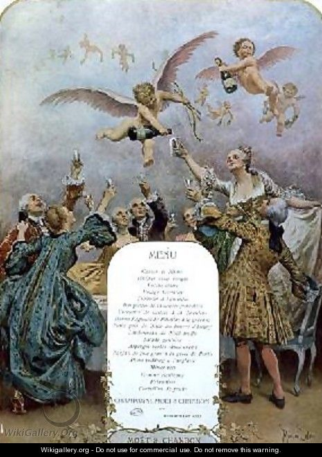 Ritz Restaurant menu depicting a group of elegant 18th century men and women drinking champagne served by cherubs - Maurice Leloir