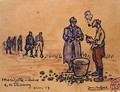 Soldiers peeling potatoes during the First World War at Marizelle in the Aisne Department - Jean Lefort