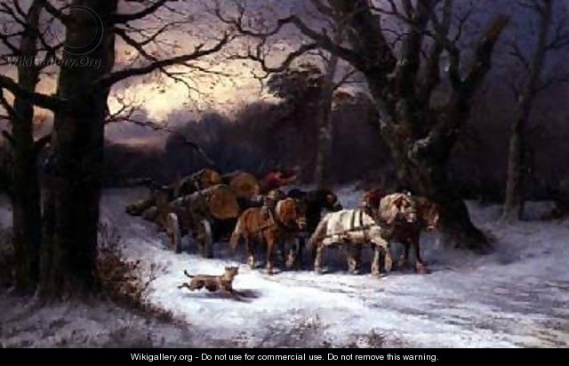Horses Pulling a Log Cart in a Winter Landscape - Alexis de Leeuw