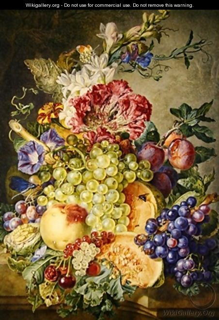 Still life with fruit and flowers - Gerrit Van Leeuwen