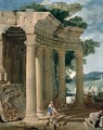 Landscape with ruins and a shepherd - Jean Lemaire