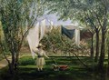 A Garden Scene with a boy the artists son George Dunlop Leslie - Charles Robert Leslie
