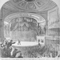 The assassination of Abraham Lincoln 1809-65 in the box at Fords Theatre - Frank Leslie