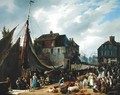 Loading Livestock onto the Passager in the Port of Honfleur - Auguste-Xavier Leprince