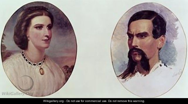 The Marriage Portrait of Richard Burton 1821-90 and Isabel Arundell 1831-96 - Louis Lesanges