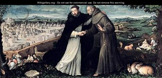 The meeting of St Francis of Assisi and St Dominic in Rome - Angiola Leone