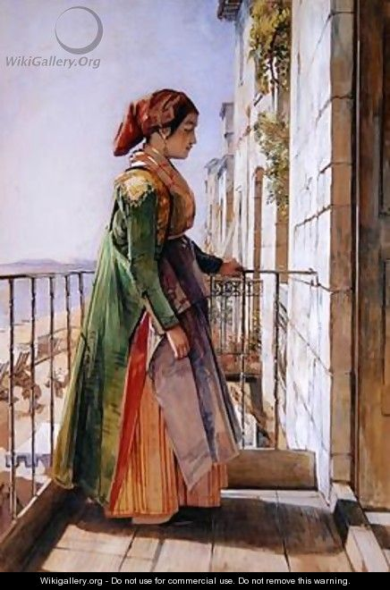 A Greek Girl Standing on a Balcony - John Frederick Lewis