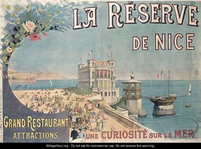 Poster advertising La Reserve restaurant Nice - E. Levy