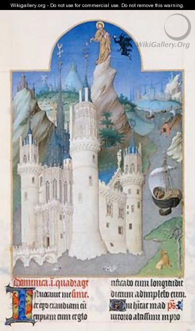 Temptation of Christ from the Tres Riches Heures du Duc de Berry - Pol de Limbourg