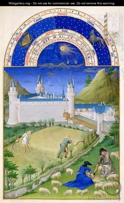 July harvesting and sheep shearing by the Limbourg brothers from the Tres Riches Heures du Duc de Berry - Pol de Limbourg
