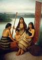 Three Maori girls and a boy sitting on a large carved Maori canoe by a lake 1899 - Gottfried Lindauer