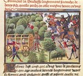 How the Duchess of Aigremont gave birth to two sons and lost them in the same hour in a wood from the Renaud de Montauban cycle - Loyset Liedet