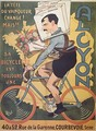 Poster advertising Alcyon cycles with the winners of Tour de France Faber 1909 - Michel, called Mich Liebeaux