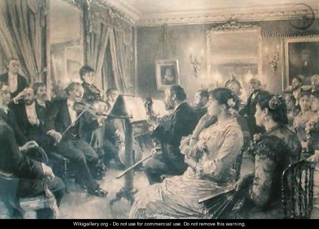 The Quartet or The Musical Evening at the House of Amaury Duval 1881 - Leon Augustin Lhermitte