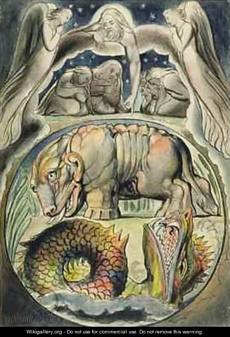 Behemoth and Leviathan after William Blake - John Linnell