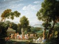 A Wooded Italianate Landscape with Nymphs Dancing 1728 - Hendrik Frans Van Lint