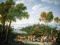 An Extensive Italianate Landscape with a Sacrifice 1728 - Hendrik Frans Van Lint
