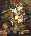 Fruit and Flowers on a Marble Ledge 1812 2 - Johannes or Jacobus Linthorst