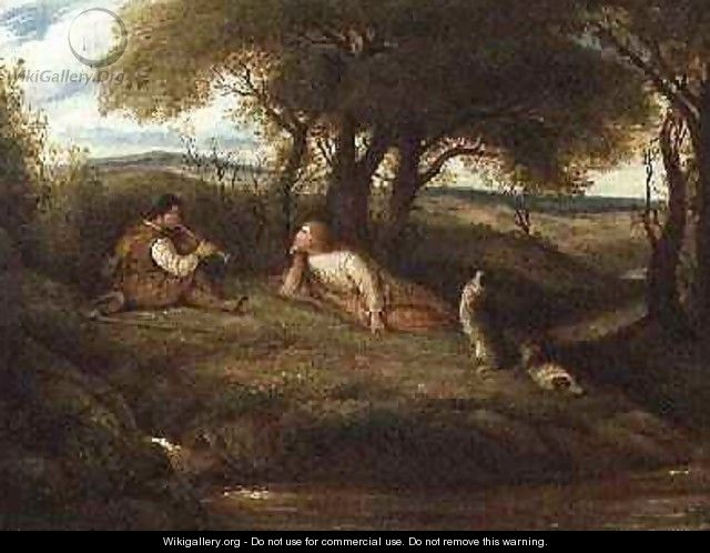 Young Man Playing Music to a Shepherd and his Dogs - John Linnell