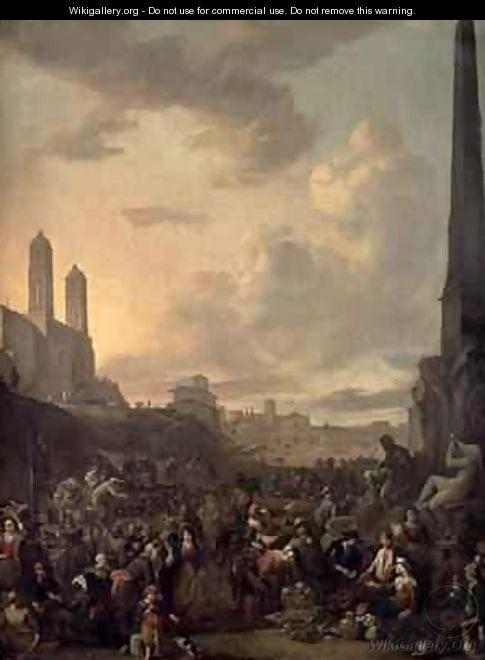 Capriccio View of Rome with a Market by Berninis Four Rivers Fountain, Santa Trinita dei Monti St Francesca Romana and the Arch of Titus beyond - Johannes Lingelbach