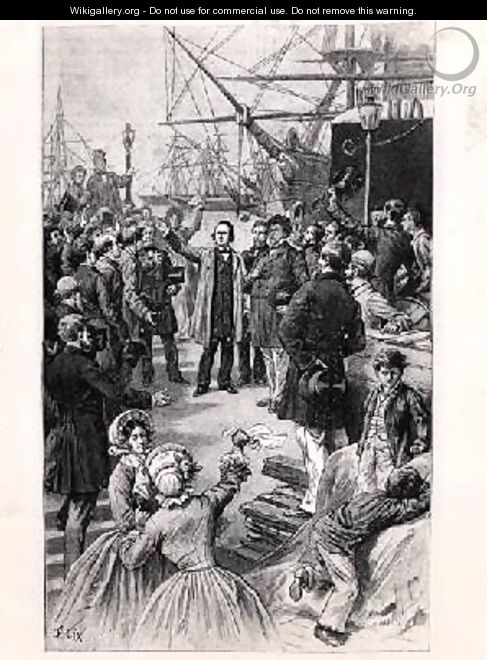 Victor Hugo 1802-85 saying goodbye to his friends and supporters in Antwerp on 1st August 1852 - Frederic Lix
