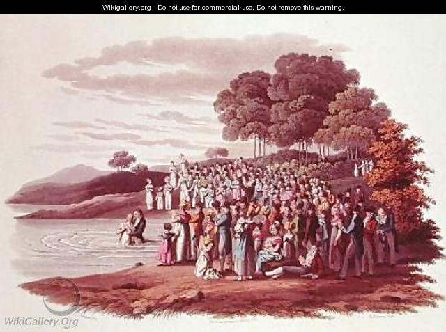 Anabaptist ceremony in North America - (after) Milbert, Jacques