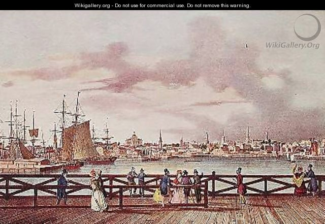View of Boston and the South Boston Bridge - (after) Milbert, Jacques