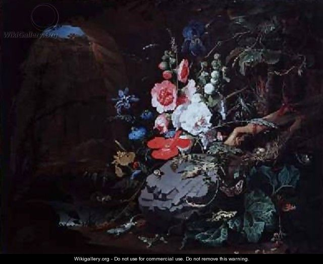 Flowers and birds in a cave - Abraham Mignon