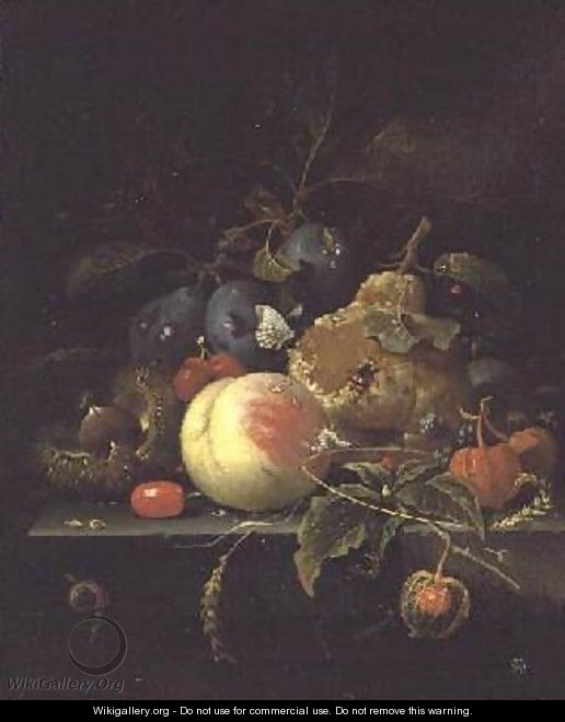 Still Life of Fruit and Nuts on a Stone Ledge - Abraham Mignon
