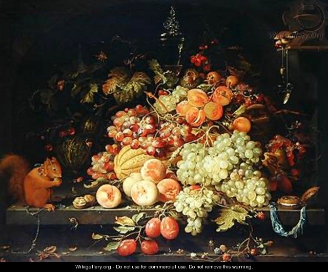 Still Life with Fruit Squirrel and Goldfinch - Abraham Mignon
