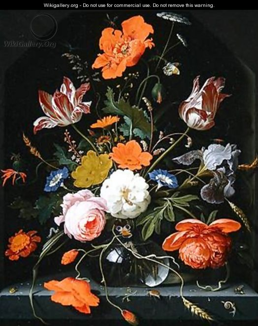 Still life of flowers in a glass vase - Abraham Mignon