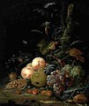 Still life with fruit and corn - Abraham Mignon