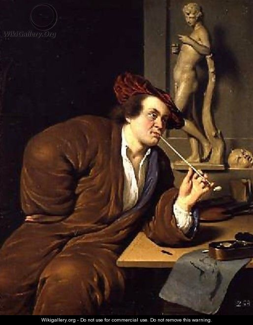 Smoker possibly a self portrait 1688 - Frans van Mieris