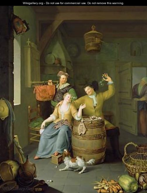 Interior with a couple celebrating - Frans van Mieris
