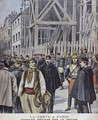Strike in Paris building site protected by the army illustration from Le Petit Journal Supplement illustre 23rd October 1898 - P.H.G.V. Michel