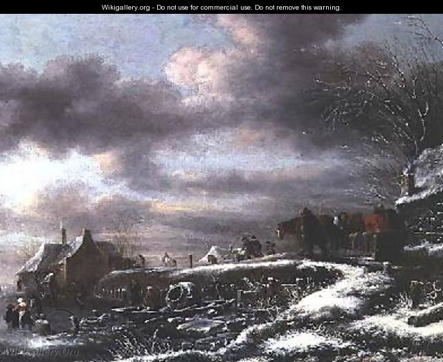 A Winter Landscape with Figures in a Horse-drawn Sledge - Claes Molenaar (see Molenaer)
