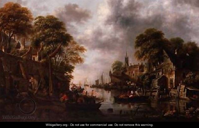 River Scene with Boats and Figures - Claes Molenaar (see Molenaer)