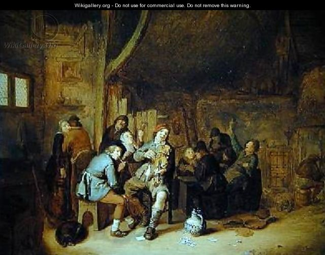 Figures smoking and playing music in an inn - Jan Miense Molenaer