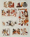Facsimile copy of a page of the Borgia codexe depicting different scenes - Mixtec