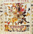 Facsimile copy of a page of the Borgia codex depicting Death and Life gods placed side by side - Mixtec