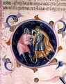 Miniature of two men quarrelling from the Bible of Charles V of Valois - Bernardino da Modena