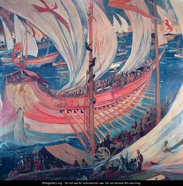 The Nau Ship detail of a picture representing the Catalan expansion in the Mediterranean during the 13th century - Joaquin Mir Trinxet
