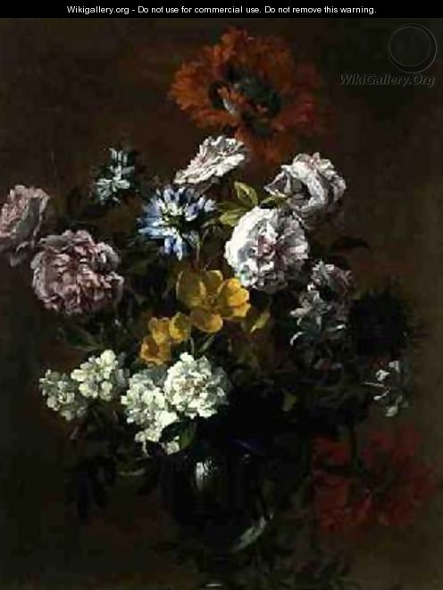 Still Life of Flowers in a Glass Vase - Jean-Baptiste Monnoyer