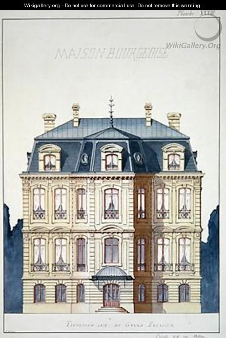 House Front Elevation Painting : Front elevation of a house for the bourgeoisie h monnot